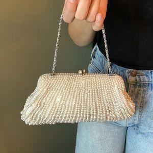 Handbags - Beautiful Vintage White Pearl Beaded Clutch Bag